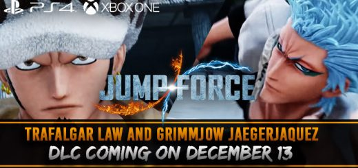 Jump Force, PlayStation 4, Xbox One, US, North America, Europe, update, news,  DLC, post-launch DLC, Japan, Asia, Trafalgar Law, Grimmjow Jaegerjaquez, release date