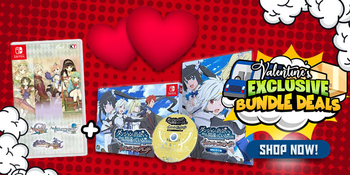 Exclusive Bundle Deals, Free Shipping Exclusive Bundle Deals, Is It Wrong to Try to Pick Up Girls in a Dungeon? Infinite Combate [Limited Edition] (Multi-Language), Omega Labyrinth Life, Dead or Alive Xtreme 3: Scarlet, Atelier Dusk Trilogy Deluxe Pack, Taiko no Tatsujin: Nintendo Switch Version!, Panty Party [Limited Edition], Omega Labyrinth Life [Limited Edition], Asia, Switch, Nintendo Switch, Buy now!, Valentine's Promotions, Valentine's Exclusive Bundle Deals, Valentine's Deals