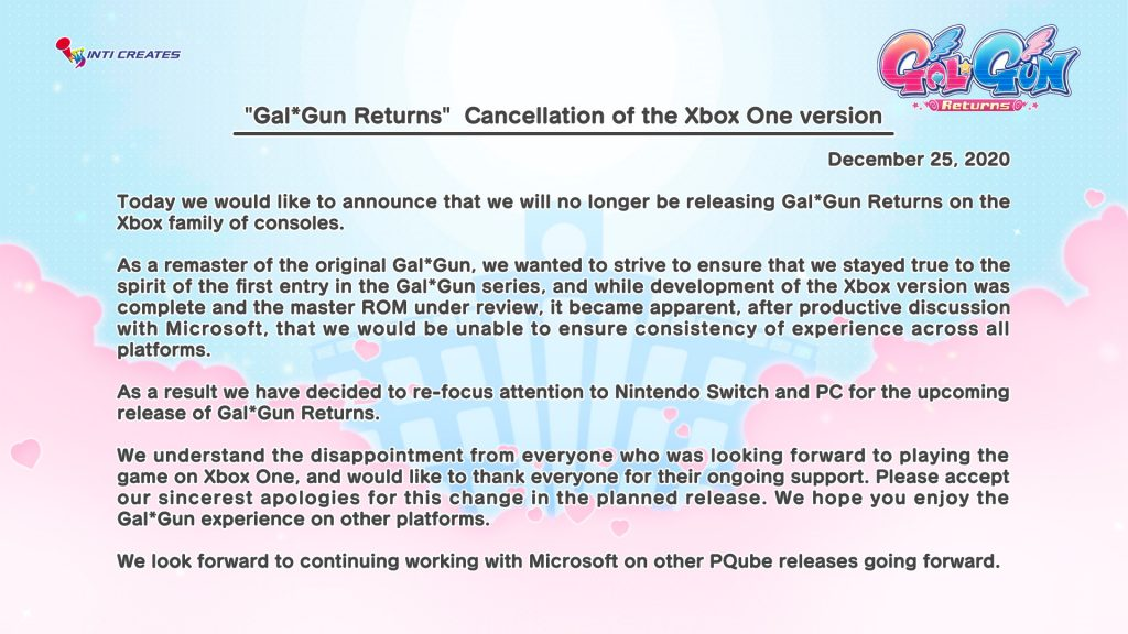 Gal Gun Returns, GalGun Returns, Gal*Gun Returns, Gal Gun, Gal*Gun Remastered, Switch, Nintendo Switch, Europe, Japan, release date, price, pre-order, features, Trailer, Screenshots, PQube, Inti Creates, news, update, Xbox One Cancelled, Xbox Version Canceled
